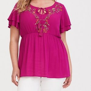 NWT Torrid embroidered babydoll top, 1 (XL, 14/16)